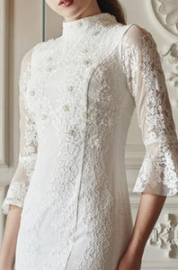 Jeslyn Trumpet Sleeve Beaded Lace Dress