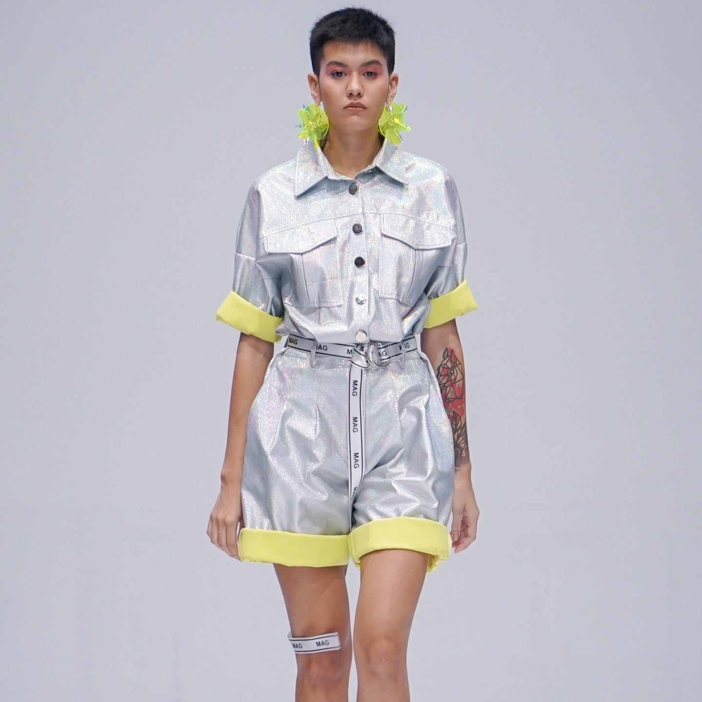 Maglifestyle Short Silver Metalic Jumpsuit (PREORDER)