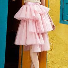 Load image into Gallery viewer, Asymmetric Tulle Midi Skirt