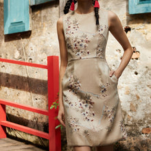 Load image into Gallery viewer, Caleste Jacquard Beaded Dress