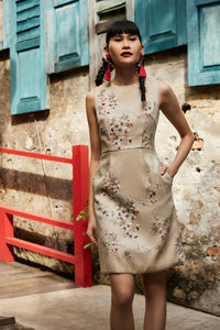 Caleste Jacquard Beaded Dress