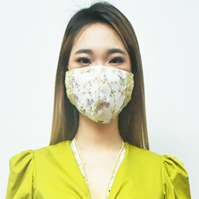 Chiffon Embroidered Lace Trim Mask