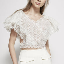 Load image into Gallery viewer, Guipure Lace Cropped Top