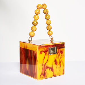 Beaded Marble Box Bag