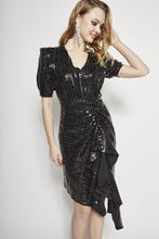 Load image into Gallery viewer, Holyn Metallic Ruffle Dress