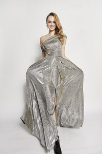 Adelyn One Shoulder Glittering Dress