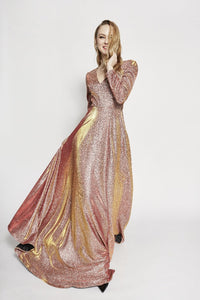 Aubree Long Sleeve Shimmering Maxi Dress
