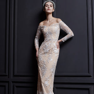 Renee Off shoulder Long Sleeve Lace Gown