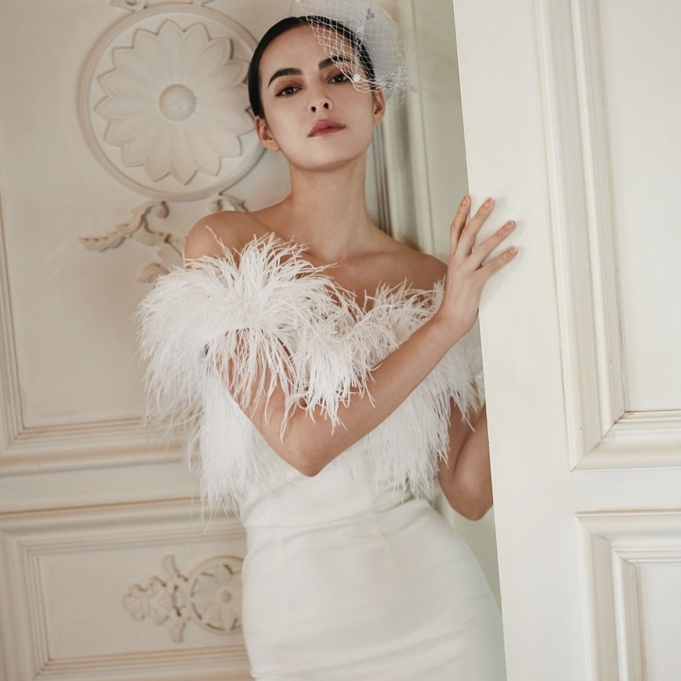 Casein Ostrich Feather Off Shoulder Long Dress