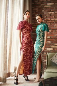 Anel Guipure Sequine Long Qipao