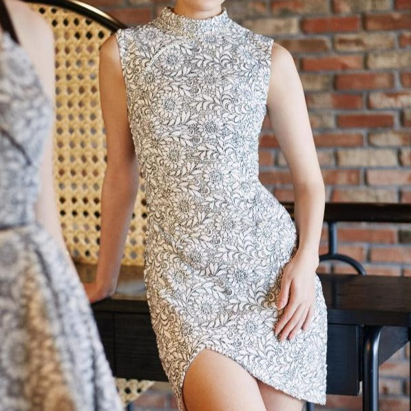 Crystal Embroidered Diamonds Qipao
