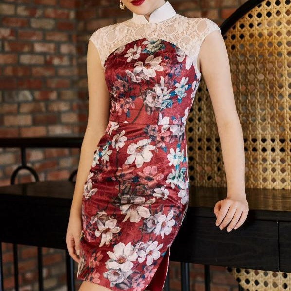 Chryta Lace Printed Qipao