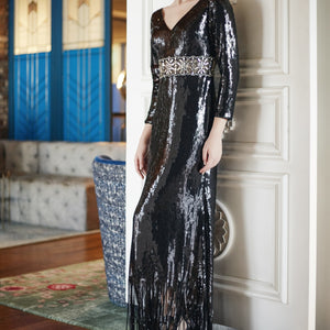 Avis Beaded Sequin Maxi Dress