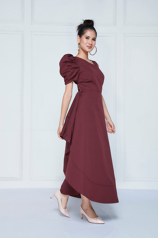 One-sided Puff Sleeve Dress
