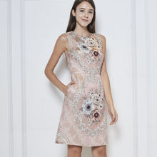 Load image into Gallery viewer, Brittany Jacquard Beaded Dress