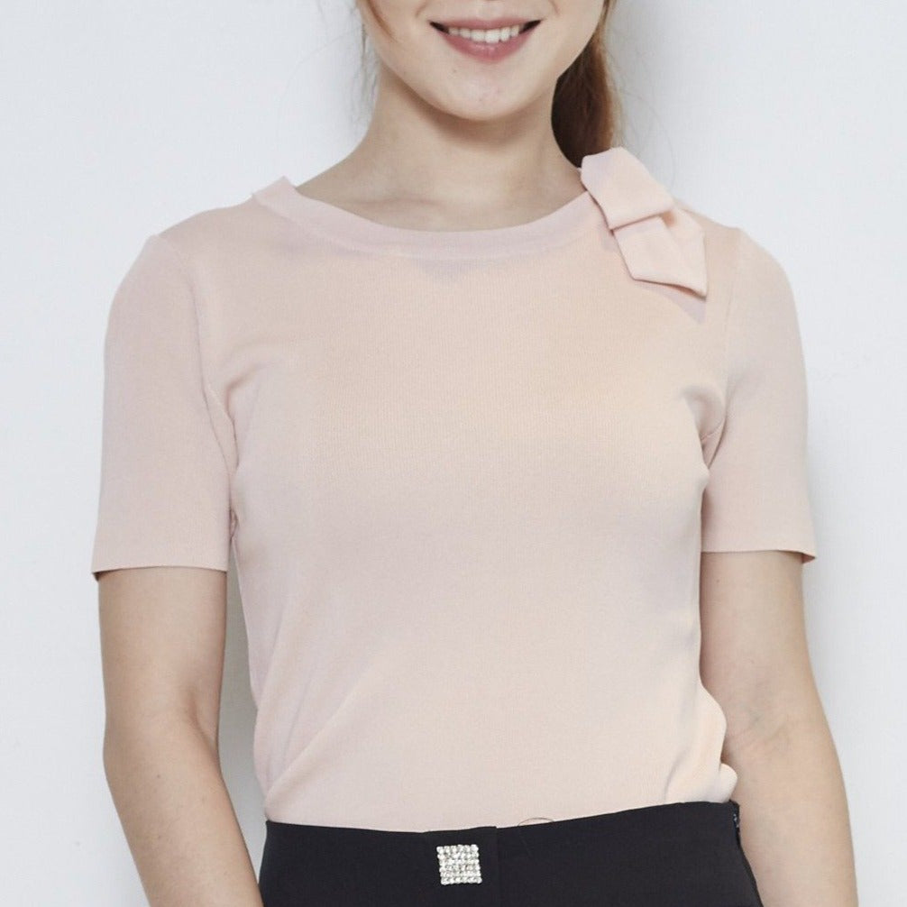 Short Sleeve Ribbon Knit Top