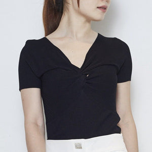 Short Sleeve Twist Knit Top