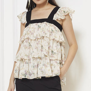 Chiffon Sleeveless Printed Top