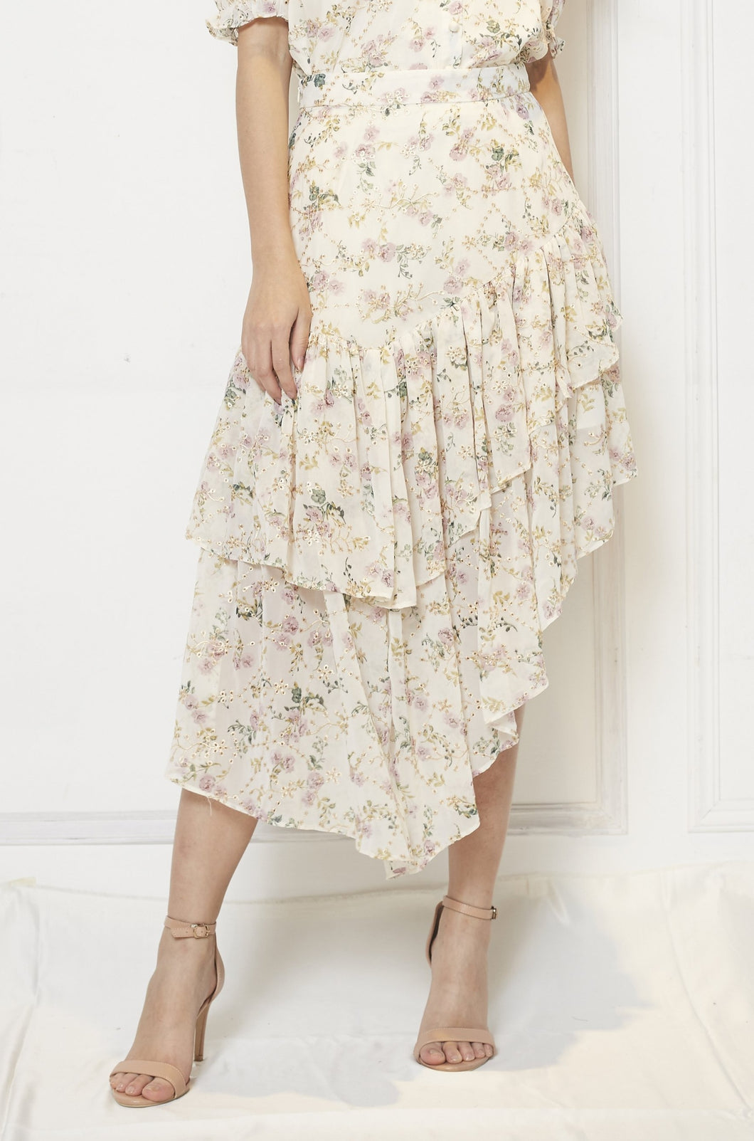 Asymmetric Chiffon Printed Skirt