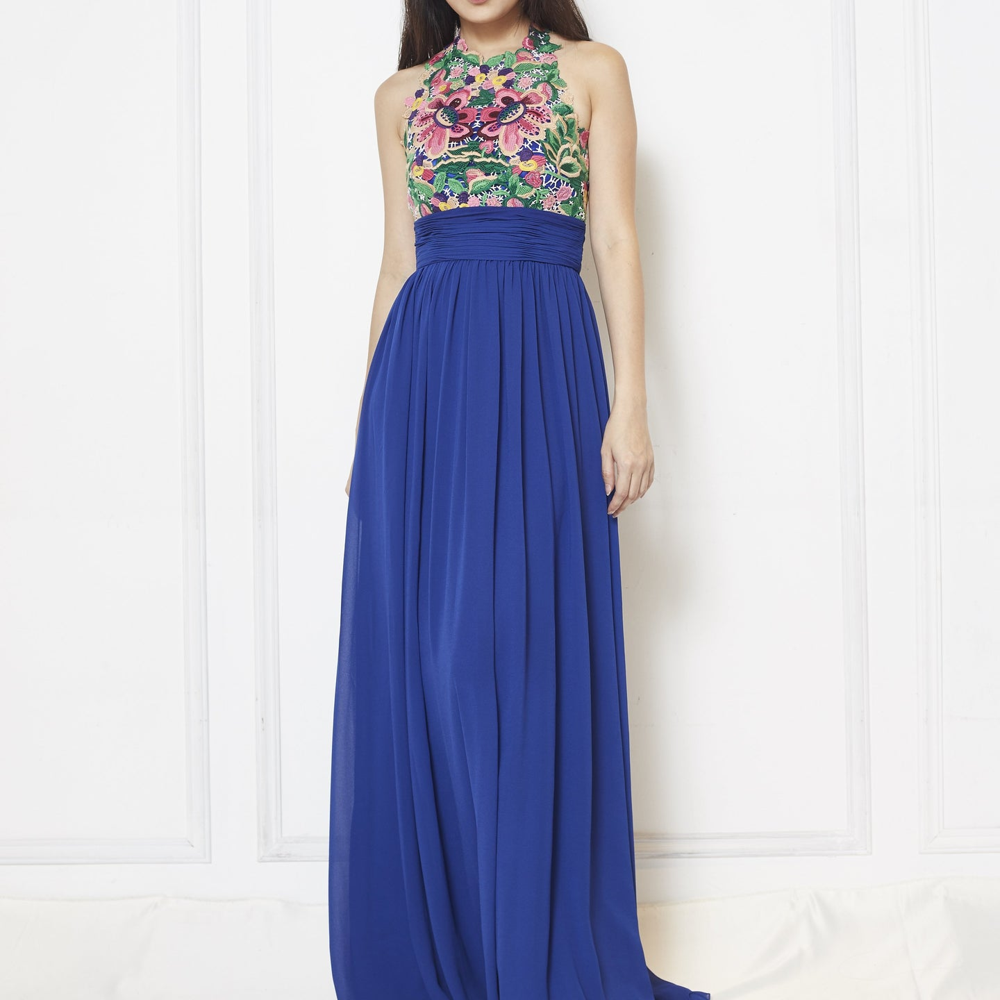 Charren Mosaic Lace Top Chiffon Maxi Dress