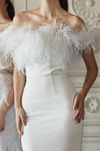 Load image into Gallery viewer, Casein Ostrich Feather Off Shoulder Long Dress