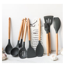 1PC Food Grade Silicone Wood Handle Cooking Utensils Cookware  9 Styles