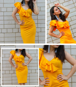 Sleeveless Ruffle Yellow  Dress