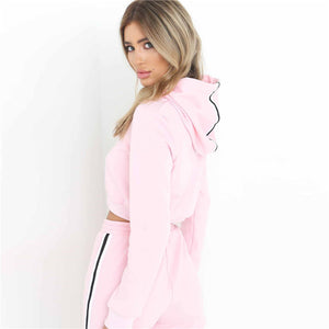 Casual  2 Piece  Long Sleeve Hoodies Pants Suit