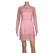 Women Sexy Pink Lace Long Sleeve Slim Dress Party Evening Dress