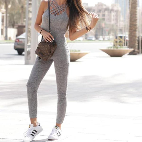 Grey Marled Ribbed Jumpsuit