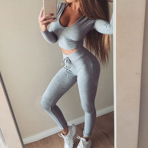 2 piece women suit outfit two piece set crop top legging sweatpants set crop hoodie