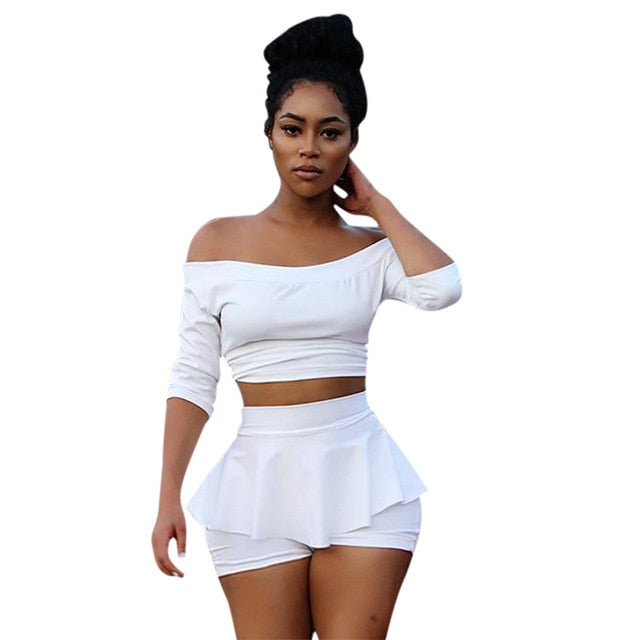 Sexy 2 pieces  Fashion White Crop Top and Skirt