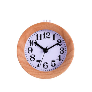 Creative Round Classic Wooden Silent Desk Travel Alarm Clock with Nightlight