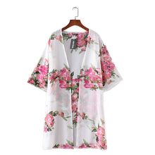 Women Floral Print Chiffon Loose Shawl Kimono Cardigan Top Cover up Shirt Blouse
