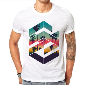100% Cotton Summer eometric Sunset Beach design
