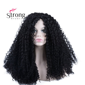 "StrongBeauty Ombre Gray 2 Tones Synthetic Lace Front Wig 22"" Long Kinky Curly Afro Wig for Women"