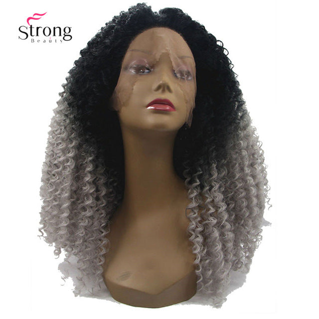 StrongBeauty Ombre Gray 2 Tones Synthetic Lace Front Wig 22