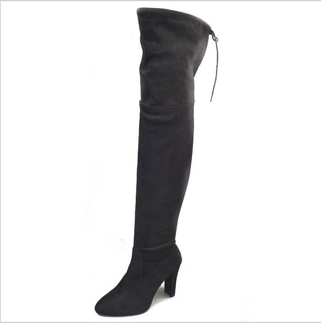 Sexy Autumn Winter Black Over the Knee Boots
