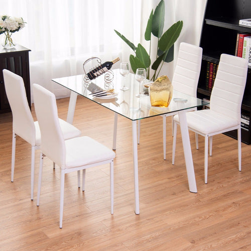 5Pcs Dining Set Tempered Glass Top Table & 4 Chairs Kitchen Furniture White New Living Room Set