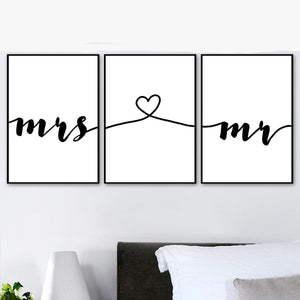 Mr Mrs Romantic Love Quotes Wall Picture for Living room Bedrom Decor