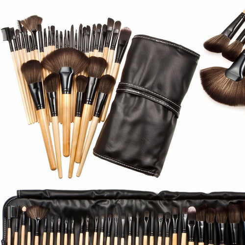 32pcs Professional Makeup brushes set Soft Cosmetics Eyebrow Shadow Make up brush Kit and Pouch Bag Black