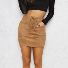 Lace-Up Pockets Casual High Waist  Suede Skirts