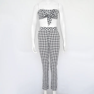 High Waist Casual Two pieces set  Cropped + Pants