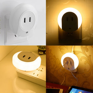 night light  2 USB Charging LED automatic night lamp intelligence warm white light