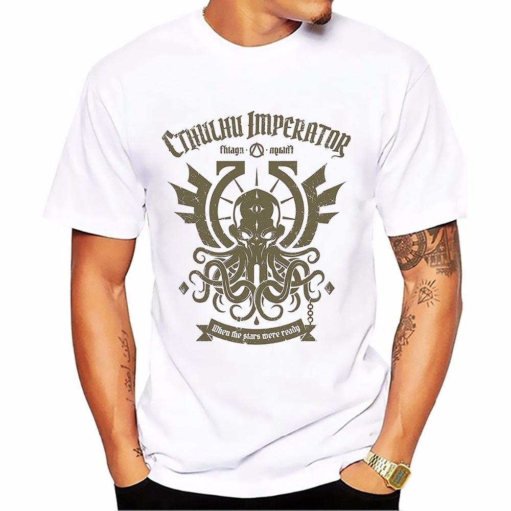 great cthulhu imperator punk t shirt men new white casual tshirt homme Short Sleeve Plus Size mens T-shirt