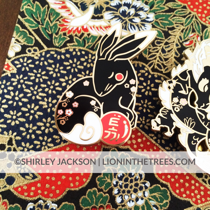 Chinese Zodiac Series 3 - Black Lacquer and Pearl Enamel Pins