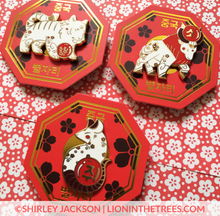 Chinese Zodiac Series 2 - Red and White Enamel Pins