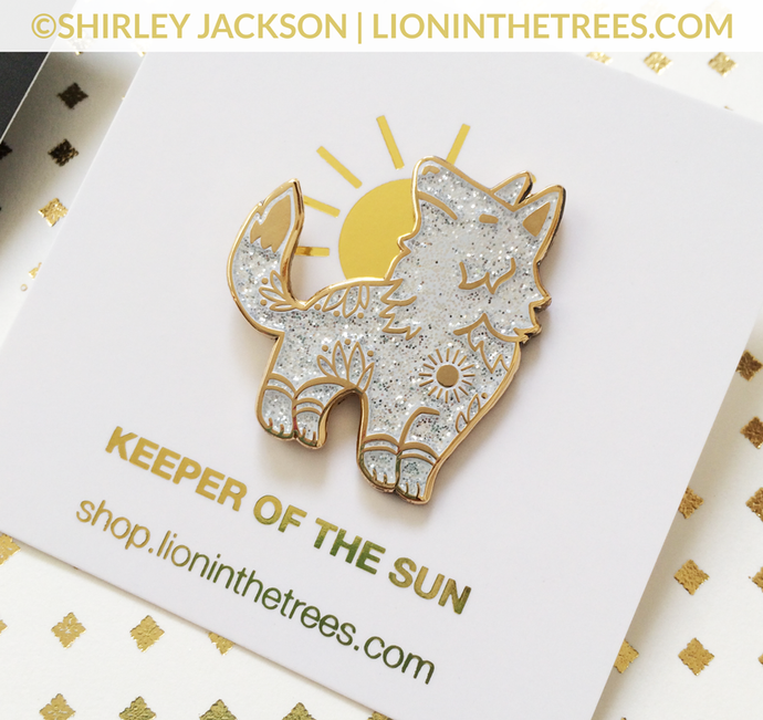 Limited Edition GLITTER Keeper of the Sun Enamel Pin