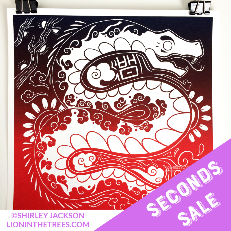 SECONDS SALE - Year of the Snake - Chinese Zodiac - Limited Edition Screen Print