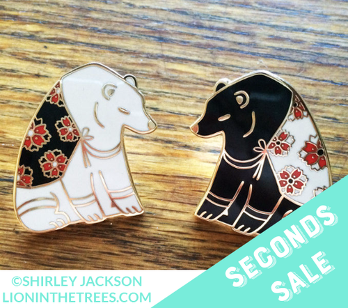 Seconds Sale Blossoms of the Winter Bear - Black Enamel Pin